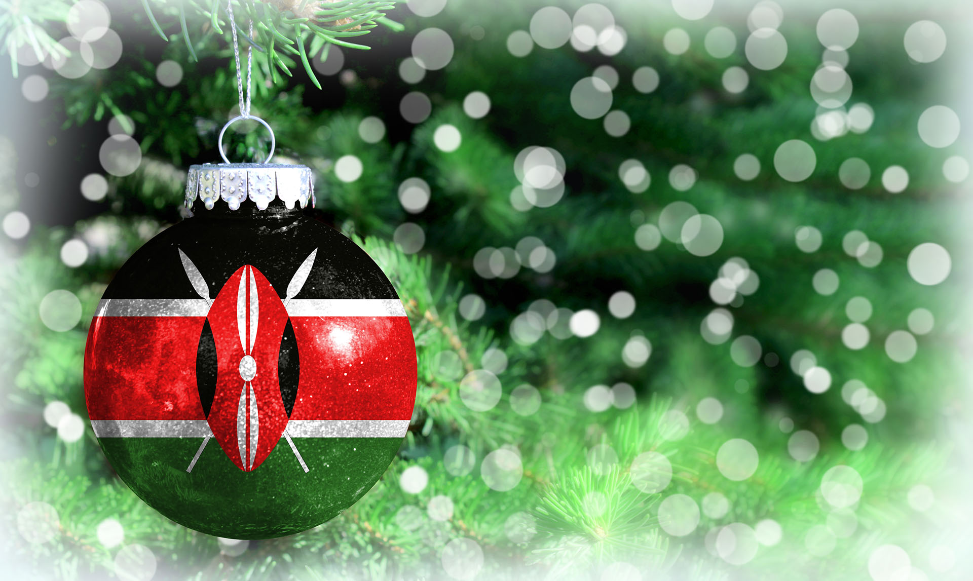 Christmas and New Year background with a flag of Kenya
