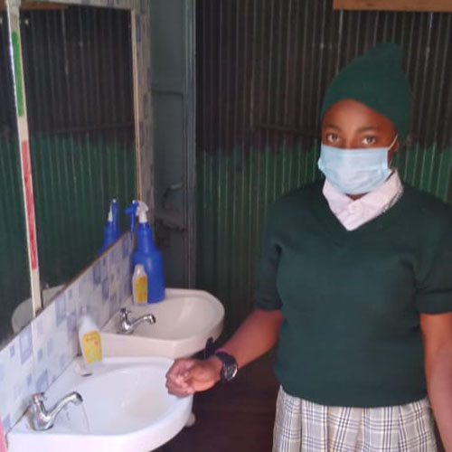 DSA girl with mask on during COVID pandemic